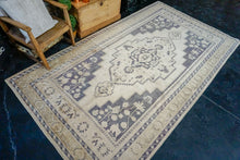 Load image into Gallery viewer, 5'9 x 10'2 Vintage Taspinar Rug Muted Eggplant, Sage and Cream Wool Carpet