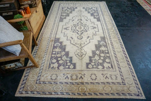 5'9 x 10'2 Vintage Taspinar Rug Muted Eggplant, Sage and Cream Wool Carpet