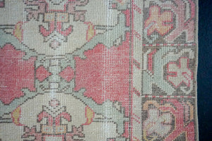 2'10 x 9'5 Turkish Oushak Runner Coral Pink, Cream and Blue
