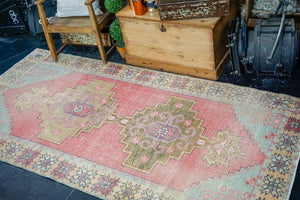 4'5 x 9' Vintage Turkish Oushak Rug Coral, Aqua and Melon