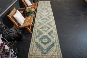 Sold 2/9*3' x 15' Classic Vintage Runner Muted Blue, Camel Beige & Cream