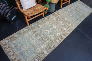 3' x 13' Classic Vintage Runner Muted Blue, Brown & Cream
