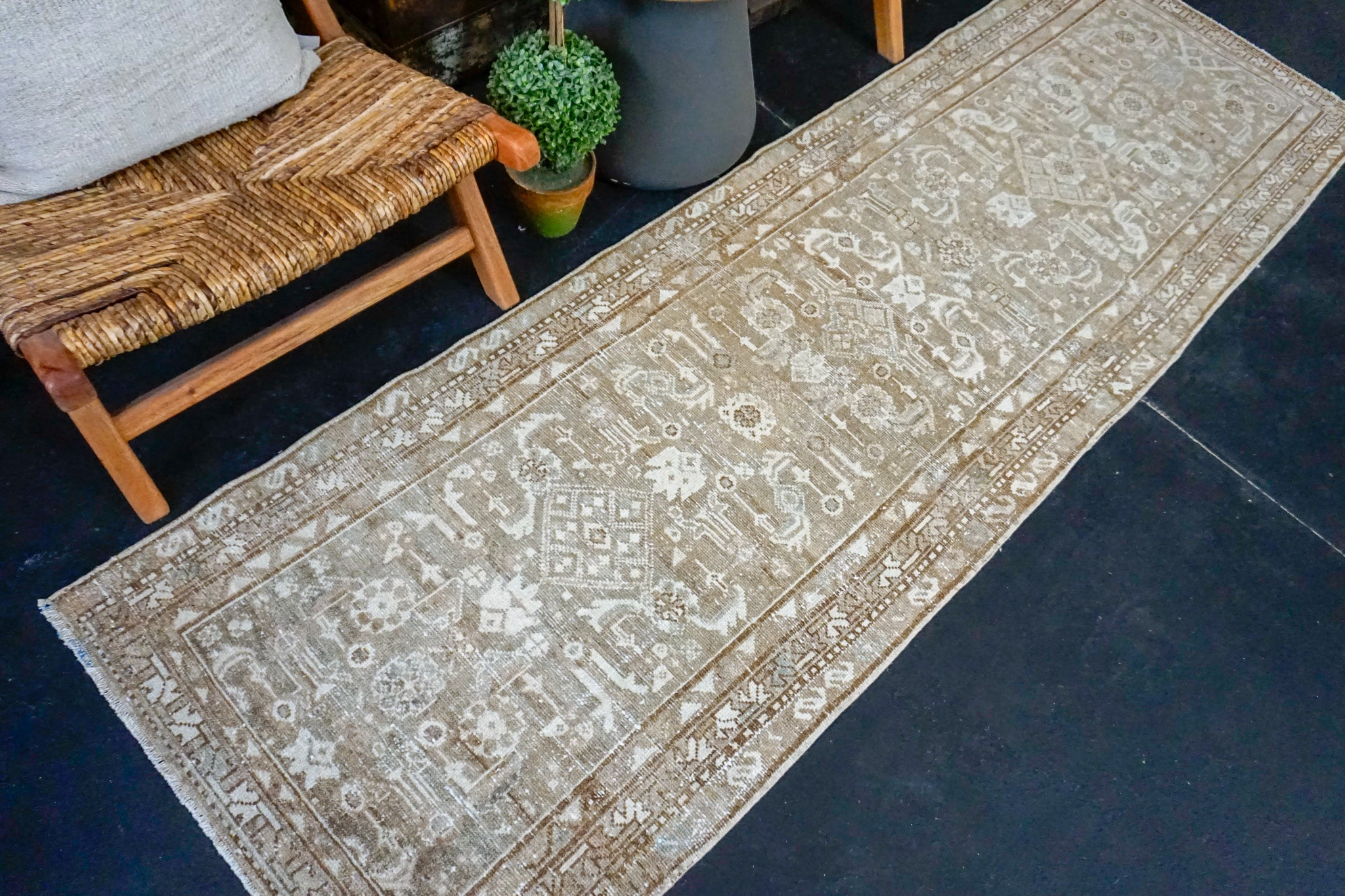 Sold EG 2/18*2'8 x 8'7 Classic Vintage Runner Muted Brown + Light Beige & Gray Available 2/20*