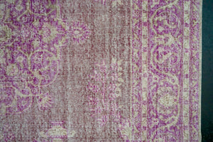 6'10x 10'3 Vintage Oushak Rug Muted Fuchsia, Violet and Beige Carpet