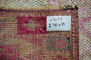2'10 x 11' Vintage Turkish Runner Beige, Pinks and Beige