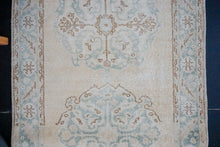 Load image into Gallery viewer, 3'1 x 9'2  Vintage Oushak Runner Beige + Seafoam Green*
