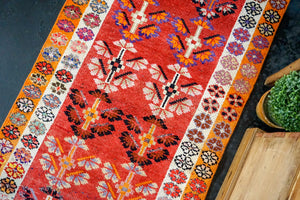 2'9 x 12'5 Turkish Oushak Runner Red, Orange, White + Blue