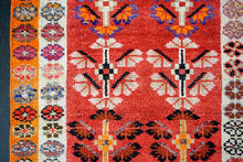 Load image into Gallery viewer, 2'9 x 12'5 Turkish Oushak Runner Red, Orange, White + Blue
