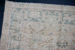 4'1 x 6'7 Classic Vintage Rug Muted Beige, Green and Pink Carpet