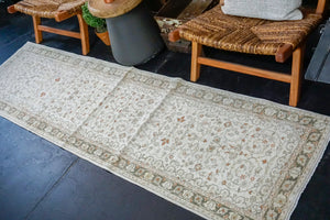 2'4 x 8'6 Classic Vintage Runner Muted Beige, Green + Copper