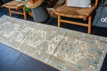 Load image into Gallery viewer, On hold for HGI*2'7 x 9'8 Classic Vintage Runner Muted Sea-Blue, Beige + Brown