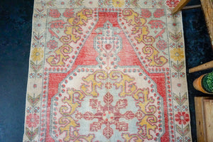 4'2 x 6'10 Turkish Oushak Rug Muted Red, Yellow and Aqua