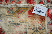 Load image into Gallery viewer, 4'2 x 6'10 Turkish Oushak Rug Muted Red, Yellow and Aqua
