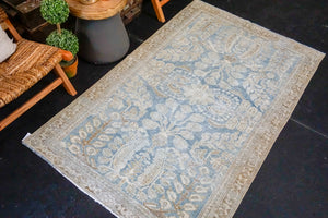 4' x 6'3 Classic Vintage Rug Muted Denim Blue, Beige and Brown Carpet