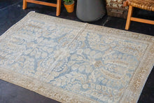 Load image into Gallery viewer, 4' x 6'3 Classic Vintage Rug Muted Denim Blue, Beige and Brown Carpet