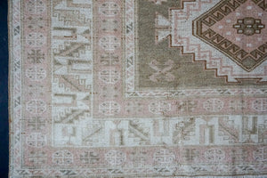 5'6 x 8'4 Vintage Turkish Taspinar Carpet Olive, Pink-Beige and Cream