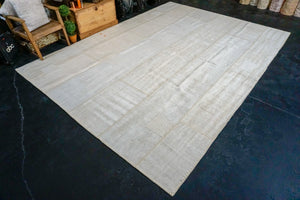 8'10 x 12'4 MCM Vintage Organic Hemp Rug Off White Collage Kilim