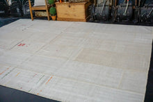 Load image into Gallery viewer, 9' x 12'4 MCM Vintage Organic Hemp Rug Off White Collage Kilim
