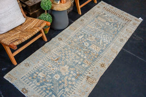 3'3 x 8'8 Classic Vintage Runner Muted Blue, Beige + Brown