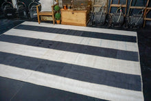 Load image into Gallery viewer, 8'11 x 12'2 MCM Vintage Organic Hemp Rug Off Black + White Collage Kilim