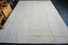 Load image into Gallery viewer, 10' x 13' MCM Vintage Organic Hemp Rug Off White Collage Kilim