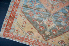 Load image into Gallery viewer, 4'6 x 5'5 Classic Vintage Rug Muted Blue, Salmon + Ecru Carpet