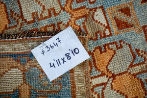 5' x 9' Classic Vintage Rug Muted Salmon, Copper + Blue Carpet