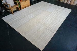 9'x 12' MCM Vintage Organic Hemp Rug Off White Collage Kilim
