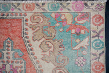 Load image into Gallery viewer, 4'2 x 7'4 Oushak Rug Muted Red, Turquoise and Beige Vintage Carpet