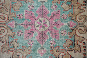 4'2 x 7'4 Oushak Rug Muted Red, Turquoise and Beige Vintage Carpet