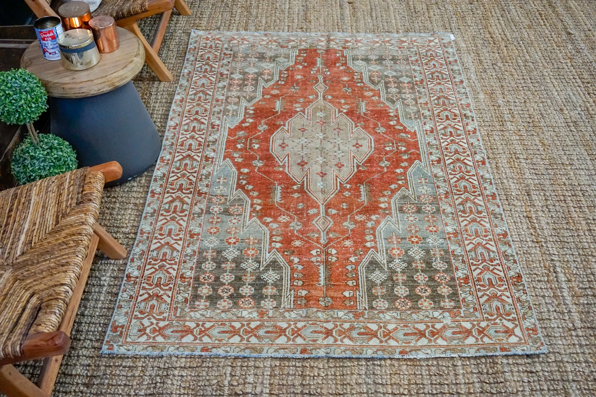 4'1 x 6'1 Classic Vintage Rug Muted Rust, Beige, Cream + Gray Carpet
