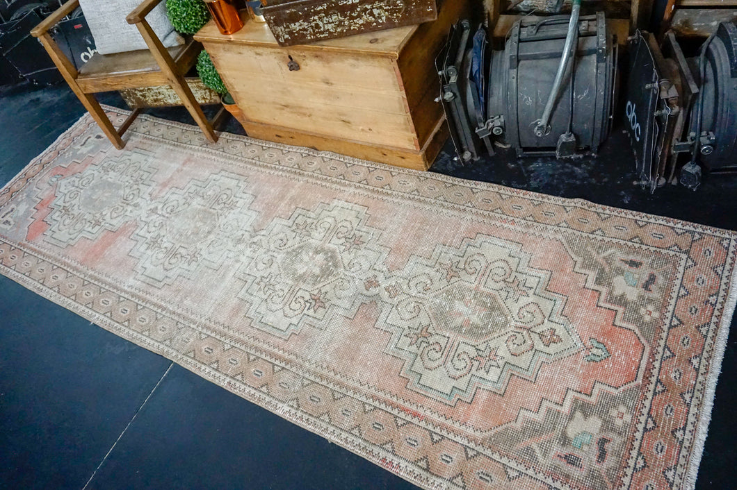 3'3 x 9'7 Vintage Turkish Runner Muted Coral Red, Light Brown, Gray and Purple