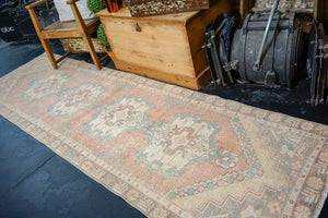 2'11 x 9'7 Vintage Turkish Runner Muted Apricot, Turquoise and Cream