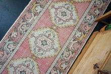 Load image into Gallery viewer, 3'2 x 10' Vintage Turkish Runner Muted Faded Red, Gray & Black