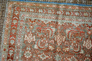 3'7 x 6'11 Classic Vintage Rug Muted Light Blue, Copper + Brown Carpet