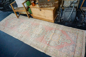3'2 x 10' Vintage Turkish Runner Muted Coral Red, Turquoise and Brown