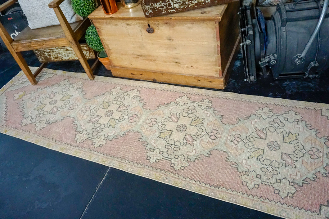 2'3 x 9' Vintage Turkish Runner Muted Red, Blue, Pink and Green
