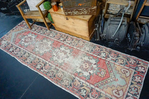 3'2 x 9'7 Vintage Turkish Runner Muted Red, Blue, Black and White