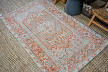 Load image into Gallery viewer, 4' x 6'8 Classic Vintage Rug Muted Sockeye Salmon, Blue + Pink Carpet