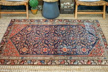 Load image into Gallery viewer, 4'3 x 6'1 Classic Vintage Rug Muted Dark Navy Blue + Blush Pink Carpet