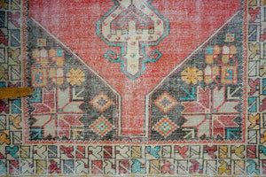 4'2 x 8'4 Oushak Rug Muted Red and Blue Vintage Carpet