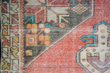 Load image into Gallery viewer, 4'2 x 8'4 Oushak Rug Muted Red and Blue Vintage Carpet