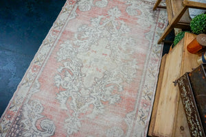 4'7 x 7'6 Oushak Rug Muted Red, Cream and Gray Vintage Carpet