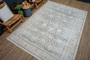 6'10 x 9'7 Vintage Oushak Rug Muted Midnight Blue and Beige Carpet