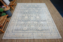 Load image into Gallery viewer, 6'10 x 9'7 Vintage Oushak Rug Muted Midnight Blue and Beige Carpet