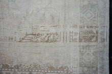 Load image into Gallery viewer, 7' x 11'6 Vintage Taspinar Rug Beige & Olive Green Angora Wool Carpet