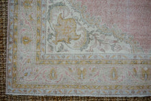 Load image into Gallery viewer, 6'9 x 10'5 Vintage Oushak Rug Muted Pink, Blue + Honey Carpet