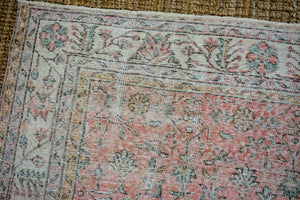 6'10 x 10'3 Vintage Oushak Rug Muted Red, Beige, Green + Gray Carpet
