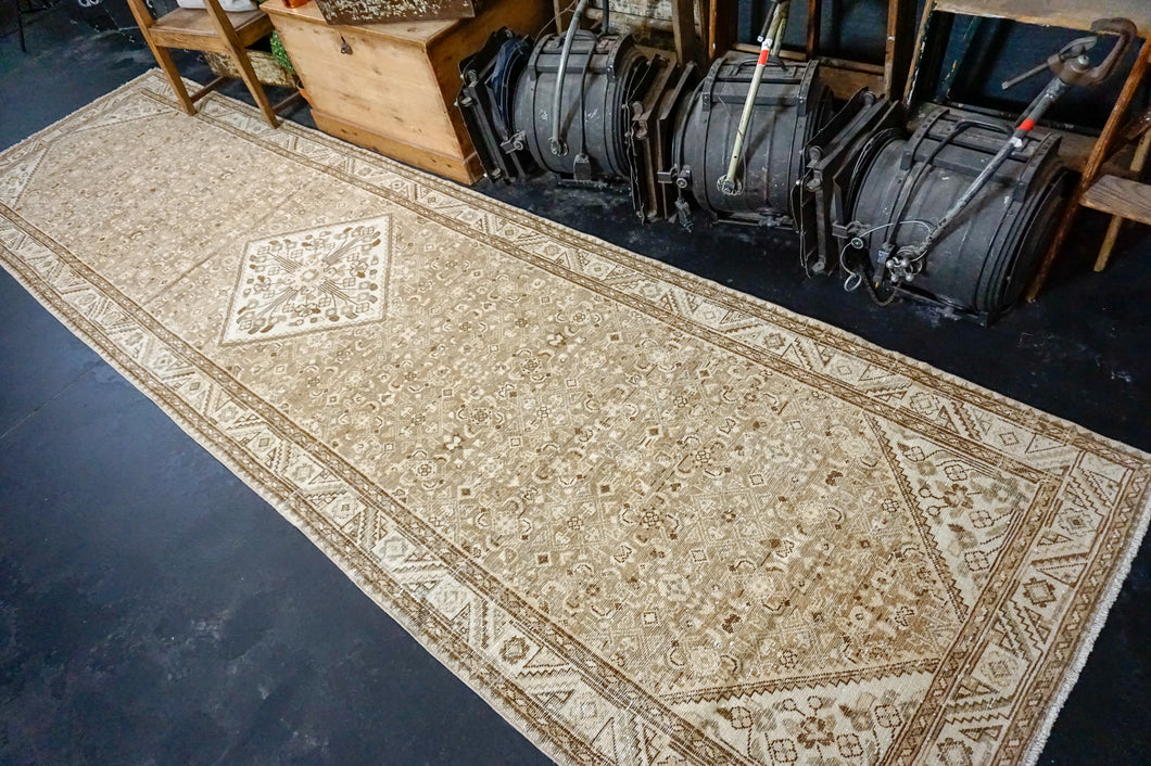 3'10 x 14' Persian Hamadan Runner Beige, Brown and Olive Green