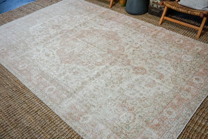 6'10 x 10'3 Vintage Oushak Rug Muted Blush, Beige + Blue Carpet